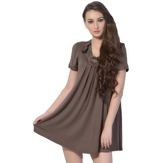 Half Sleeves Brown Casual Top