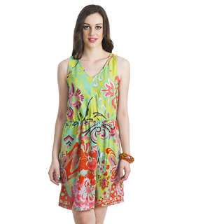 Seductive Fern Cotton Dress Green And Orange