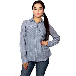Jiwan Printed Blue Check Polyester Shirt