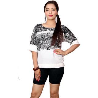 Jiwan White & Black Polyester Top
