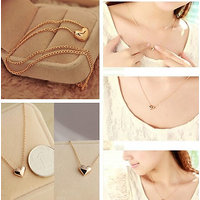 Marvina Gold Plated Heart Bib Statement Chain Jewelry Pendant Necklace For Women