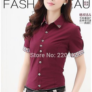 Tops Cotton Solid Color Slim Beaded Collar Short-Sleeved Work Shirt