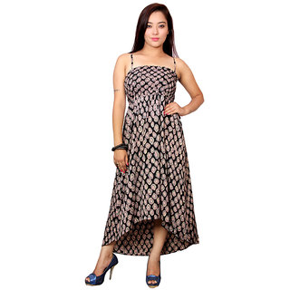 Jiwan Printed Polyester Asymmetrical Hem Dress
