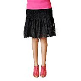 Vastra Black Cotton Short Skirt