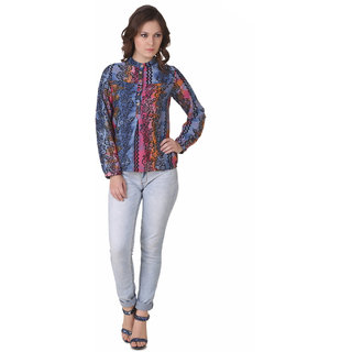 NOD Trudy Blue And Pink Crazy Floral Top