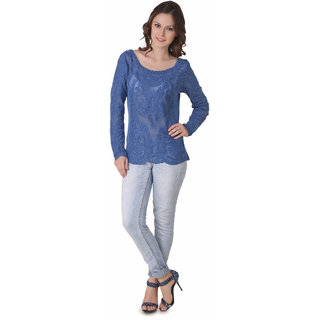 NOD Angela Persian Blue Embroidered Top