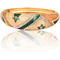 Just Women In Vouge Enameled Gold Plated Stone Studded Green Bracelet