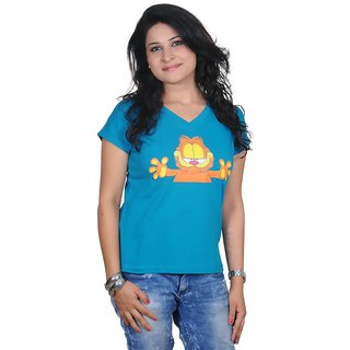 Golden Couture Garfield Printed Green Top