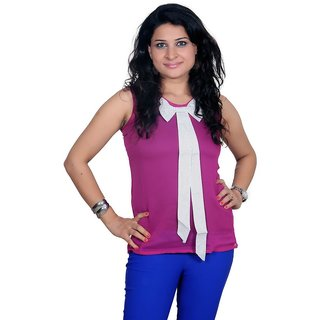 Golden Couture Purple & White Tie Top