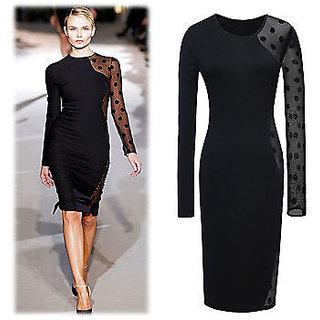 Women Fashion Celeb Victoria Lace Dot Kne-lengh Clearance Patchwork Bodycon DRES
