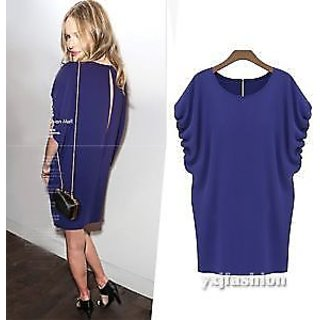 Womens Draped Sleeve O-Neck Hollow Back Loose Party Club Mini Top