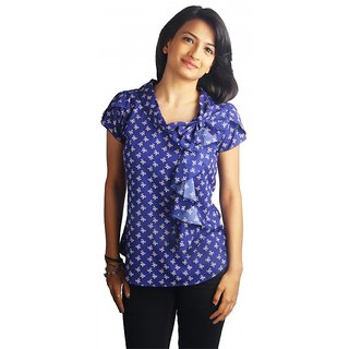 Western Top Hannah Navy Bow Printed For Women