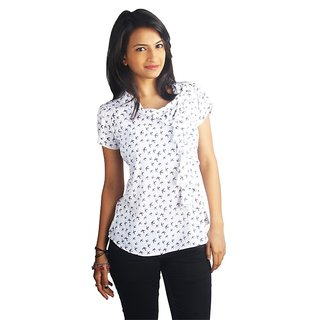 Western Top Hannah White Birds Printed For Women
