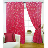 Fabutex Poly Jacquard Weave Small Floral Leaf Red Eyelet Door Curtain