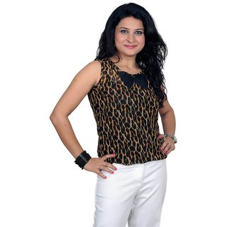 Golden Couture Tiger Print Bow Top
