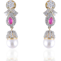 Firstloot Lovely American Diamond Earrings In Pink And White Colour - Di516