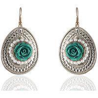 Firstloot Pleasing Easy On Pocket Earrings In Bottle Green And White Colour - E549