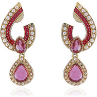 Firstloot Exquisite Polki Earrings In Pink And Gold Combination With Pearls - Po784