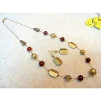 Firstloot Bead Necklace Set In Cherry Red And Dull Gold Colour - BD217
