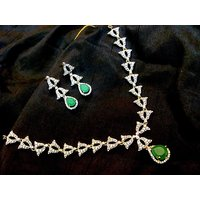 Firstloot Beautiful American Diamond Necklace Set In Green And White Colour - DS31