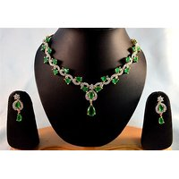 Firstloot American Diamond Necklace Set In Green And White Colour - DS88