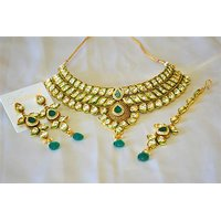 Firstloot Bridal Style Kundan Necklace Set In Turquoise And White Colour - PES10