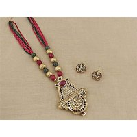 Firstloot Temple Necklace Set In Green And Gold Colour - PES38