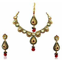 Firstloot Polki Necklace Set In Green And White Colour - POS324