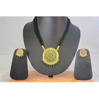 Firstloot Thewa Necklace Set In Green And Gold Colour - TS48