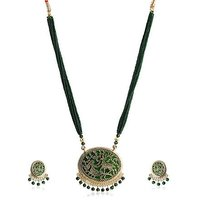 Firstloot Thewa Necklace Set In Green And Gold Colour - TS74