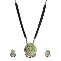 Firstloot Thewa Necklace Set In Green And Gold Colour - TS80
