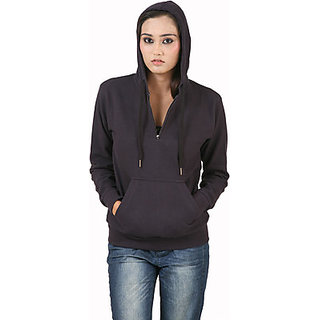 Hypernation Classy Navy Blue Color Full Sleeves Hooded Sweat Shirts For Women