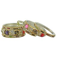 """Aakshi """"Colourful Wildflowers One Row Bangles"""" Set Of (6-PC Bangle)"""