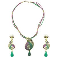 "Aakshi Necklace ""Blessing Designer Peacock Pendant"" Necklace Set"