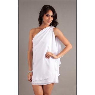 Fabrawn Short One Shoulder Dress White