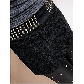 Hi Fashion: Short Skirt Black With Rivet Embellished 74cm Waist..