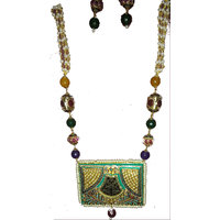 Beads Mala Tanjore Pendant Set Off White And Multicolor