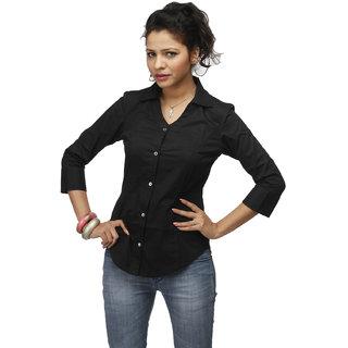 Black Corporate Cotton  Shirt With Swarovski Crystal Logo