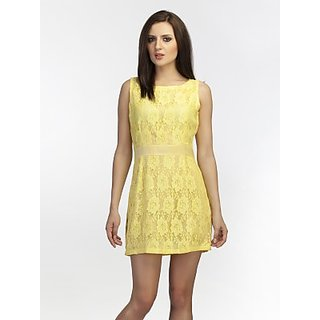 Schwof Yellow All Over Lace Dress