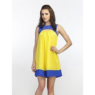 Schwof Yellow Blue Keyhole Dress
