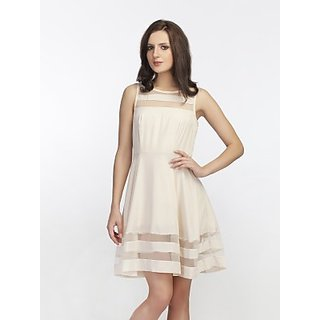 Schwof Beige Mesh Panel Dress