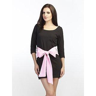 Schwof Pink Big Bow Black Dress