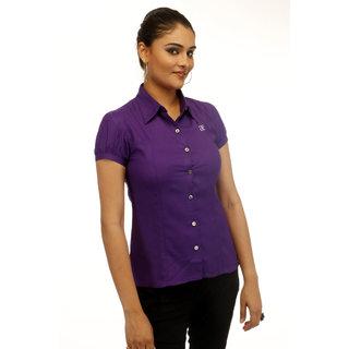 Girl's Purple Formal Shirt With Swarovski Crystal Logo