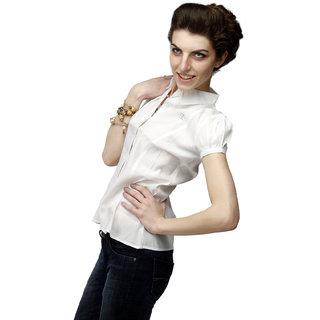 Girl's White  Formal Shirt With Swarovski Crystal Logo
