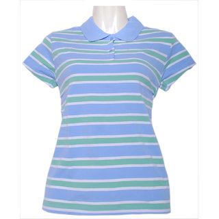 Fruit Of The Loom Ladies Striped Polo Tshirt LSSPLBZ_Light Blue