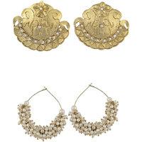 Arsya Jewellery Gold Carving Studs With Pearl Loop Earrings AOC2