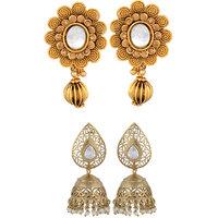 Arsya Jewellery Golden Carving Studs Festive Golden Jhumki Jewellery AOC92