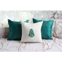 Green And White Cushion Cover With Golden Lines (Set Of 3)