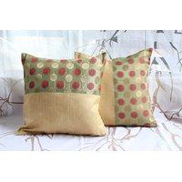 Green Banarasi And Raw Silk Cushion Cover ( Set Of 2)