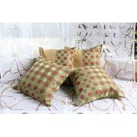 Green Banarasi Silk And Raw Silk Cushion Cover  ( Set Of 4)